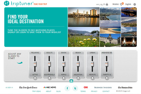 Triptuner is a web application to choose the best place to travel.