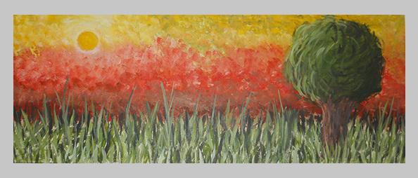 Atardecer - Sunset - Acrylic on wood. 2011. Dimensions: 30cm x 100cm