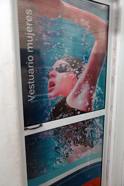 Graph applied to doors, windows and posters in swimming pool.