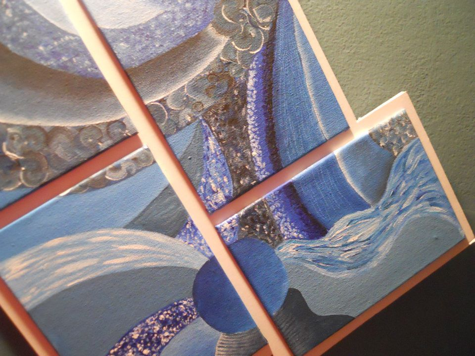 Textures in blue - Four pieces - Tempera on canvas.