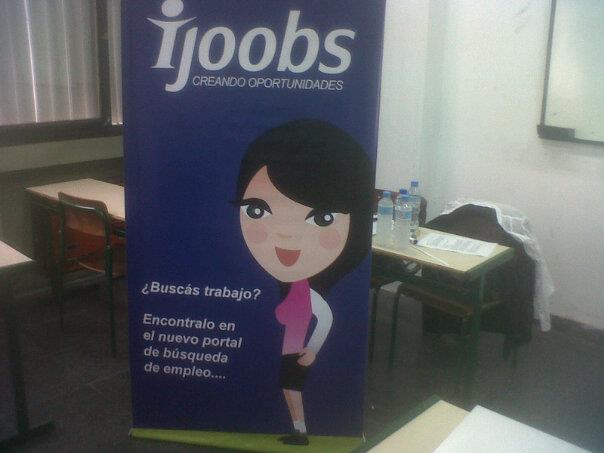 Ijobs is a job board. Printed banner.