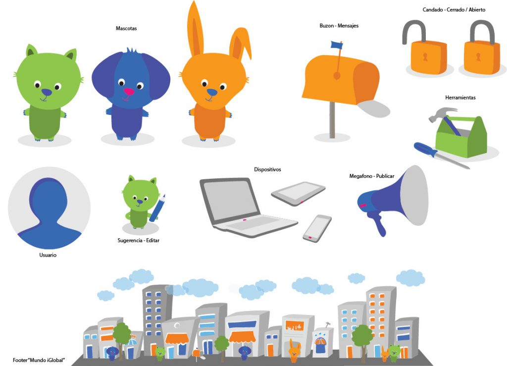 Illustrations for a web page. Iglobal