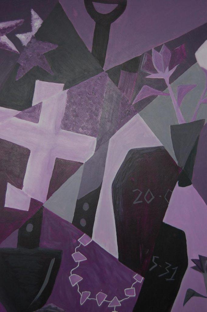 El sepulturero - The gravedigger - Acrylic on wood. 2012. Dimensions: 60cm x 100cm