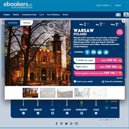 Triptuner is a web application to choose the best place to travel. In Ebookers.