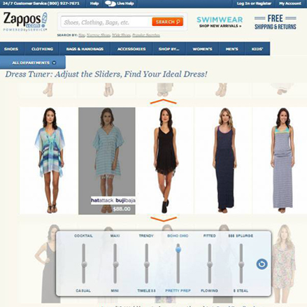 Triptuner is a web application to choose the best dress. In Zappos.