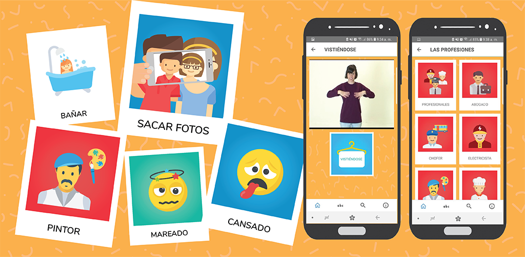LSA en Familia - App from Dane & Hexacta. App to learn the sign language of Argentina. For deaf kids and their families.